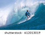 kite surfer rides among the... | Shutterstock . vector #612013019