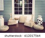 door on blue wooden wall with... | Shutterstock . vector #612017564