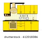 yellow and brown modern kitchen ... | Shutterstock . vector #612018386