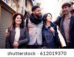 multi ethnic group of friends... | Shutterstock . vector #612019370