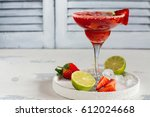 strawberry daiquiri cocktail... | Shutterstock . vector #612024668