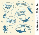 seafood cartoon poster.crab ... | Shutterstock .eps vector #612054194