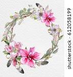 wreaths of flowers watercolor | Shutterstock . vector #612058199