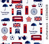 seamless pattern with english... | Shutterstock .eps vector #612060608
