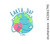 earth day vector cartoon card   Shutterstock .eps vector #612061790
