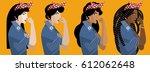 feminist girls multicultural | Shutterstock .eps vector #612062648