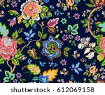 Stock vector seamless flowers pattern vector illustration in asian textile style 612069158