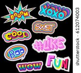 fashion patch badges with word... | Shutterstock .eps vector #612074003
