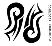 tattoo sketch tribal vector... | Shutterstock .eps vector #612075920