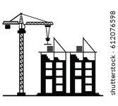 crane construction icon vector | Shutterstock .eps vector #612076598