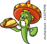 mexican cheerful chilli peppers ... | Shutterstock .eps vector #612079598
