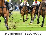 Stock photo horses polo run in the game 612079976