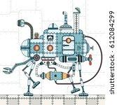 walking metal machine  with... | Shutterstock .eps vector #612084299