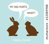 funny easter card.two chocolate ...   Shutterstock .eps vector #612085988