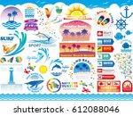 a set of various beach resort... | Shutterstock .eps vector #612088046