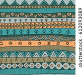 tribal multicolor seamless... | Shutterstock .eps vector #612093089