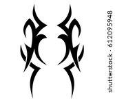 tattoo sketch tribal vector... | Shutterstock .eps vector #612095948