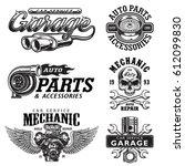 set of vintage monochrome auto...   Shutterstock . vector #612099830