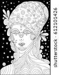 black and white shaman girl ... | Shutterstock . vector #612101426