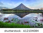mayon volcano at early morning... | Shutterstock . vector #612104084