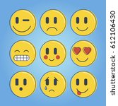 set of emoticons  icon pack ... | Shutterstock .eps vector #612106430