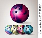 bowling ball vector. set 3d...   Shutterstock .eps vector #612113450