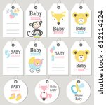 gift tags and cards baby shower.... | Shutterstock .eps vector #612114224