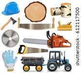 vector sawmill icons | Shutterstock .eps vector #612117500