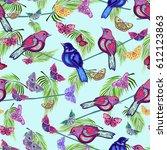 beautiful blue and pink birds ... | Shutterstock .eps vector #612123863