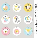 gift tags and cards baby shower.... | Shutterstock .eps vector #612127484