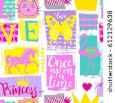 cute seamless princess pattern... | Shutterstock .eps vector #612129638