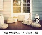 door on blue wooden wall with... | Shutterstock . vector #612135350