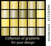 collection of golden gradient... | Shutterstock .eps vector #612136544
