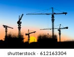 crane and building construction ... | Shutterstock . vector #612163304