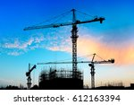 crane and building construction ... | Shutterstock . vector #612163394