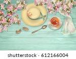 easter top view wooden... | Shutterstock .eps vector #612166004