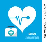 medical heartbeat kit first aid ... | Shutterstock .eps vector #612167669