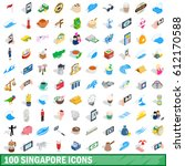 100 singapore icons set in...   Shutterstock .eps vector #612170588
