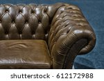 vintage brown leather sofa  | Shutterstock . vector #612172988