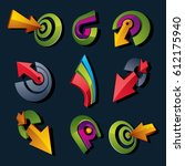 3d vector abstract shapes ... | Shutterstock .eps vector #612175940