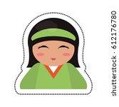 Portrait Kokeshi Girl Character