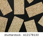 crispy dry rye crackers on a... | Shutterstock . vector #612178133