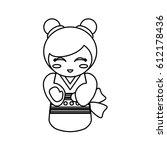 doll kokeshi decoration outline | Shutterstock .eps vector #612178436