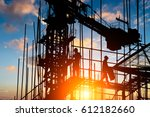 construction worker on... | Shutterstock . vector #612182660