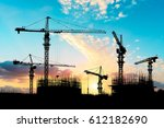 crane and building construction ... | Shutterstock . vector #612182690
