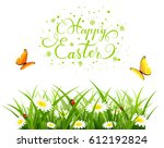 easter theme with a flying... | Shutterstock . vector #612192824
