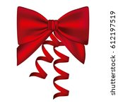 silk shiny red ribbon with... | Shutterstock .eps vector #612197519
