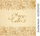 easter eggs with brown floral... | Shutterstock .eps vector #612201410