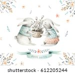hand drawing easter watercolor... | Shutterstock . vector #612205244