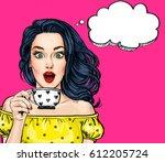 surprised pop art woman with... | Shutterstock . vector #612205724